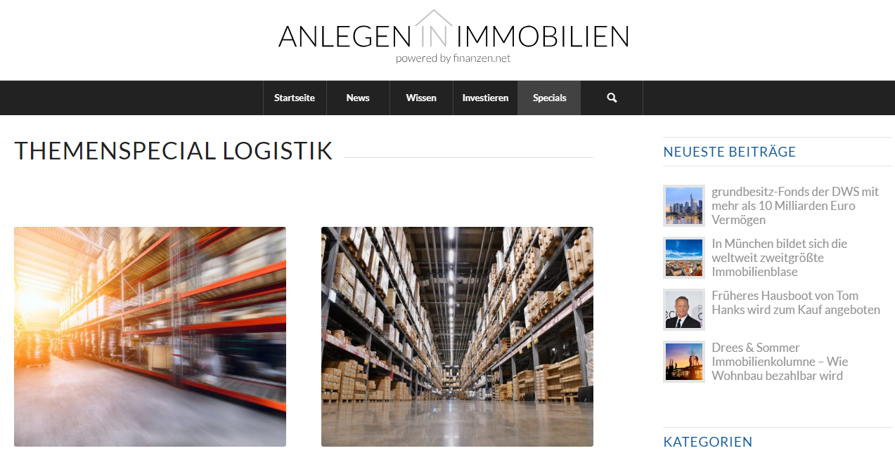 Anlegen in Immobilien Logistik
